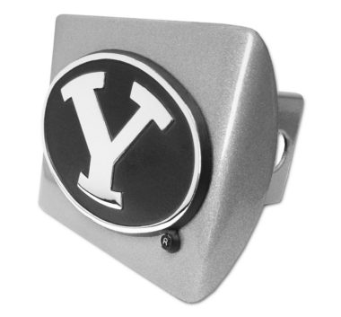 Brigham Young Black Emblem on Brushed Metal Hitch Cover