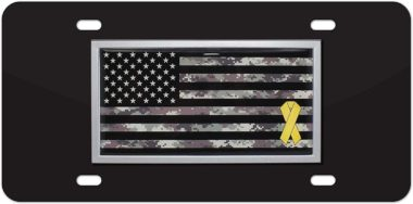 Support Our Troops Camo Flag Stainless Steel License Plate