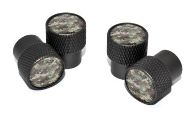 Camo Valve Stem Caps - Black Knurling