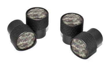 Camo Valve Stem Caps - Black Knurling