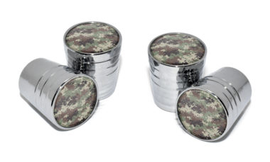Camo Valve Stem Caps - Chrome