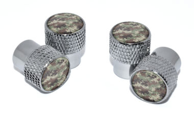 Camo Valve Stem Caps - Chrome Knurling image
