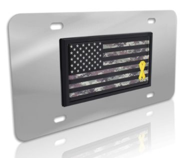 Charitable Support Our Troops Camo Flag Stainless Steel License Plate image
