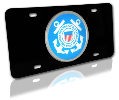 Coast Guard Seal Emblem on Black License Plate image
