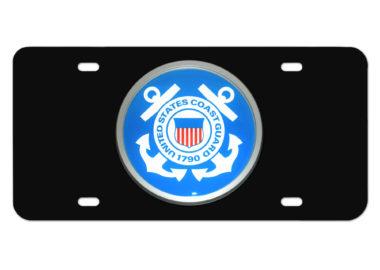 Coast Guard Seal Emblem on Black License Plate