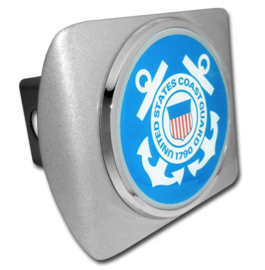 Coast Guard Seal Emblem on Brushed Hitch Cover