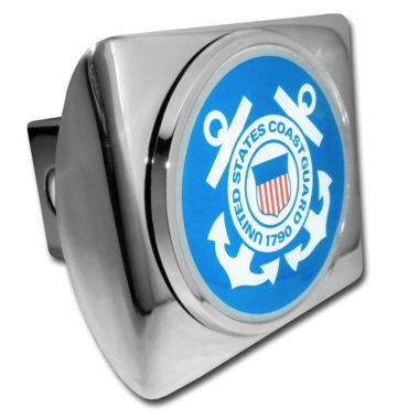 Coast Guard Seal Emblem on Chrome Hitch Cover