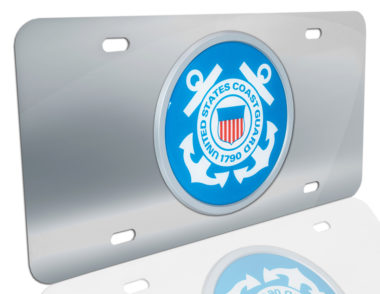 Coast Guard Seal on Stainless Steel License Plate
