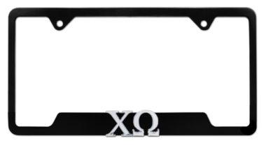 Chi Omega Sorority Black Open License Plate Frame