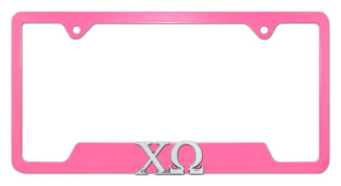 Chi Omega Sorority Pink Open License Plate Frame