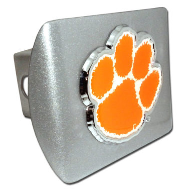 Clemson Orange Emblem on Brushed Hitch Cover