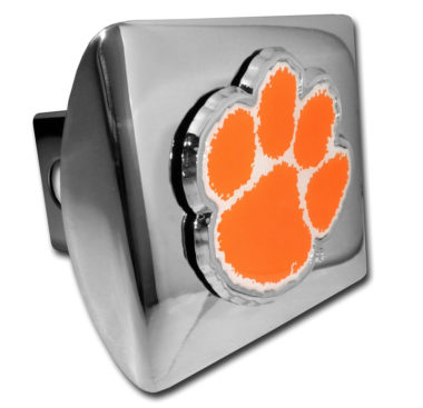 Clemson Orange Emblem on Chrome Hitch Cover