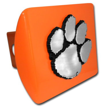 Clemson Emblem on Orange Metal Hitch Cover