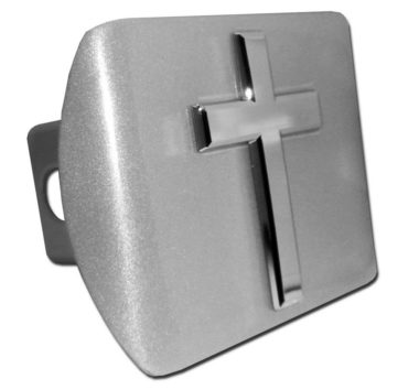 Cross Emblem on Brushed Metal Hitch Cover