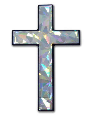 Cross 3D Silver Reflective Decal image