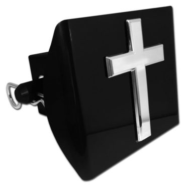 Cross Emblem on Black Plastic Hitch Cover