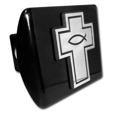 Cross with Fish Emblem on Black Hitch Cover