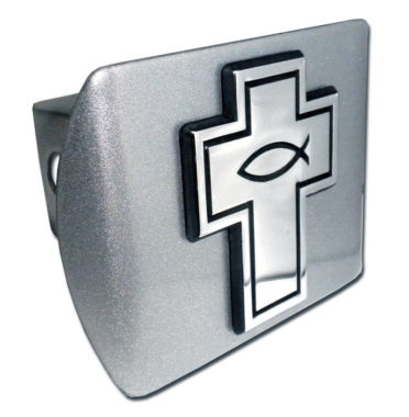 Cross with Fish Emblem on Brushed Hitch Cover