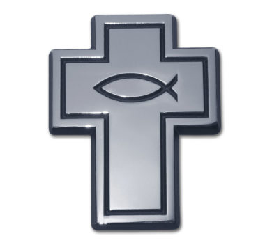 Cross with Fish Chrome Emblem image