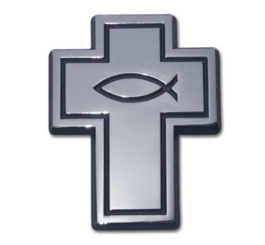 Cross with Fish Chrome Emblem image