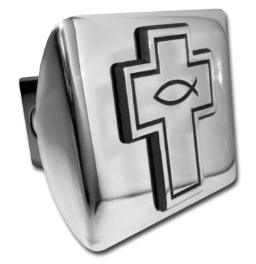 Cross with Fish Emblem on Chrome Hitch Cover image