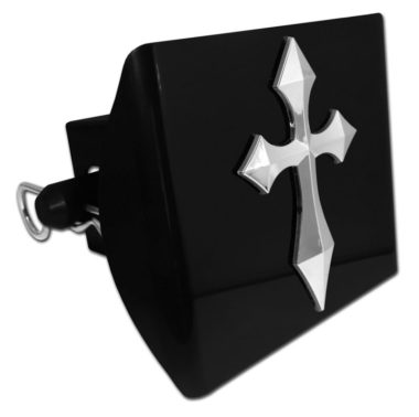 Pointed Cross Emblem on Black Plastic Hitch Cover image