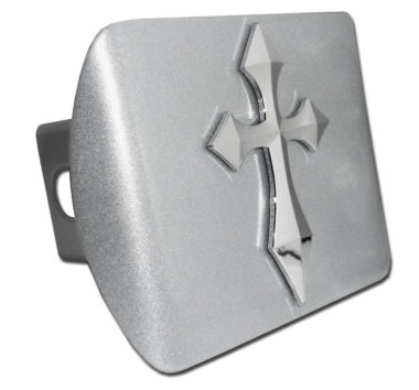 Pointed Cross Emblem on Brushed Hitch Cover image