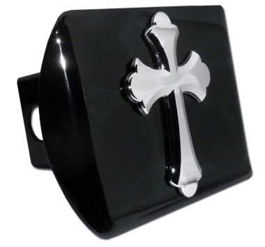 Scalloped Cross Emblem on Black Hitch Cover