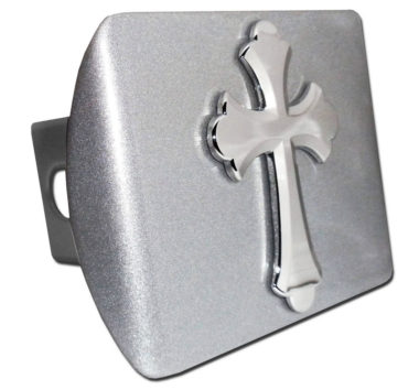Scalloped Cross Emblem on Brushed Hitch Cover