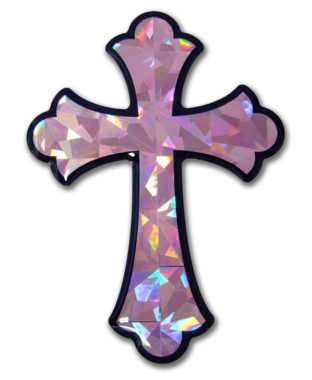 Scalloped Cross Pink 3D Reflective Decal image