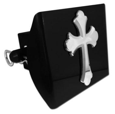 Scalloped Cross Emblem on Black Plastic Hitch Cover