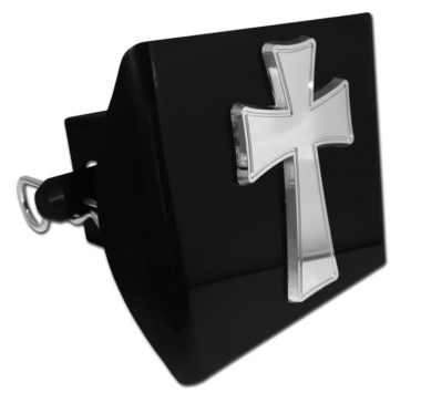 Tapered Cross Emblem on Black Plastic Hitch Cover