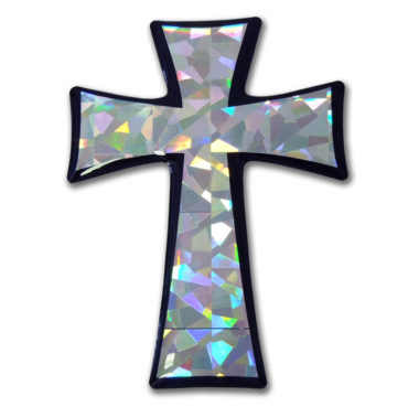 Tapered Cross Silver 3D Reflective Decal image