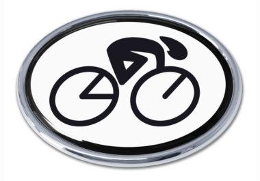 Cycling Oval Chrome Emblem