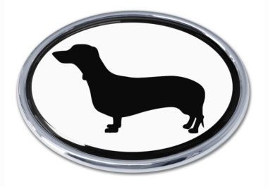 Dachshund White Chrome Emblem