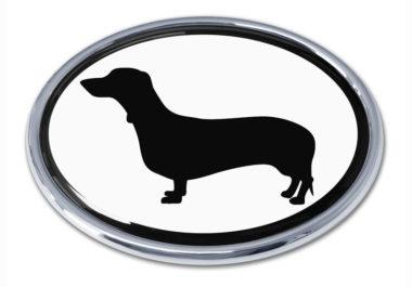 Dachshund White Chrome Emblem