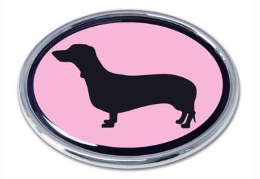 Dachshund Pink Chrome Emblem