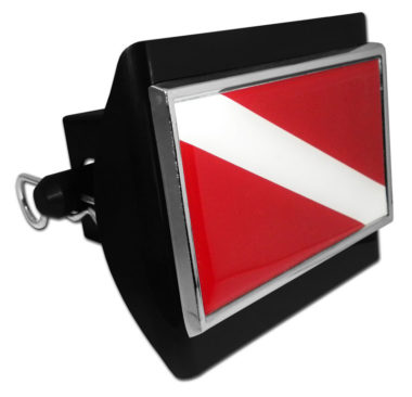 Dive Flag Emblem on Black Plastic Hitch Cover