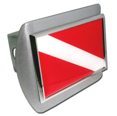 Dive Flag Emblem on Brushed Hitch Cover