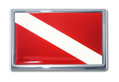 Small Dive Flag Chrome Emblem
