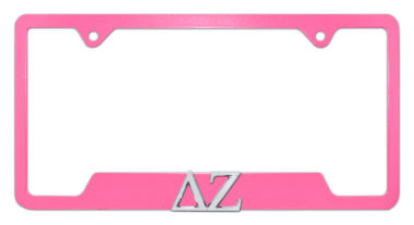 DZ Sorority Pink Open License Plate Frame