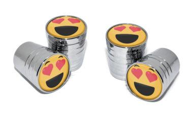 Heart Emoji Valve Stem Caps - Chrome