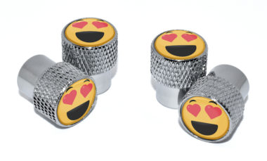Heart Emoji Valve Stem Caps - Chrome Knurling
