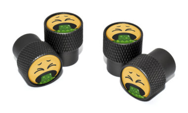 Puke Emoji Valve Stem Caps - Black Knurling
