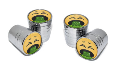 Puke Emoji Valve Stem Caps - Chrome image