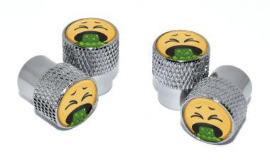Puke Emoji Valve Stem Caps - Chrome Knurling