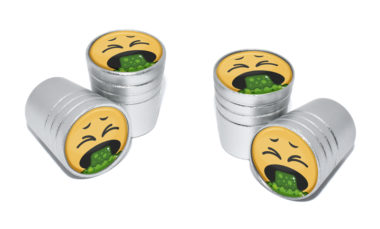 Puke Emoji Valve Stem Caps - Matte Chrome