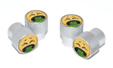 Puke Emoji Valve Stem Caps - Matte Knurling