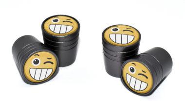 Wink Emoji Valve Stem Caps - Black
