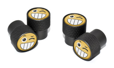 Wink Emoji Valve Stem Caps - Black Knurling